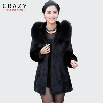 2018 S - 6XL Women Winter Hooded Fake Fur Coats Plus Size 7XL 5XL Vintage Artificial Black  Big Size Faux Fox Fur Coat With Hood