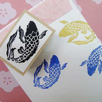 Japanese Rubber Stamp for Filofax,PostCard,tiny stamp,planner,Calendar, scheduler diary and for designers,cool japan ,Kanji,Koi