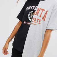 ASOS T-Shirt With Cut About Varsity Print