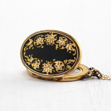Antique Black Enamel Floral Locket Necklace - Gold Filled 1930s Art Deco Oval Flower Etched Hallmarked Hayward Jewelry