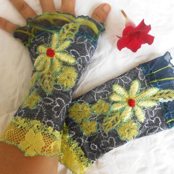 Dark Blue Jeans Blue patchwork applique gloves gloves arm warmers fingerless gloves environmentally friendly recycling Yellow flowers gloves