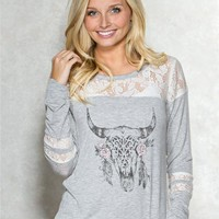 Longhorn Lace Graphic Top