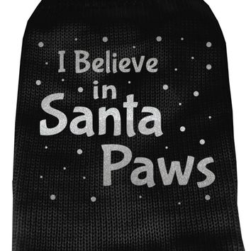I Believe In Santa Paws Screen Print Knit Pet Sweater Sm Black