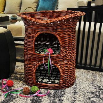 Pets Bed 3-layer Natural Wicker Weaving Cat Nest Villa for Puppy Dogs Four Seasons Pet House Washable Shelf Cat Cage Mat Basket