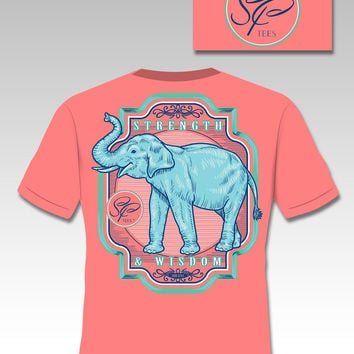 Sassy Frass Vintage Elephant Strength & Wisdom Girlie Bright T Shirt