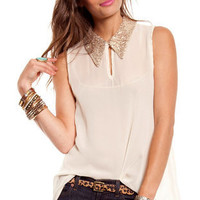 Disco Collar Top in Cream :: tobi