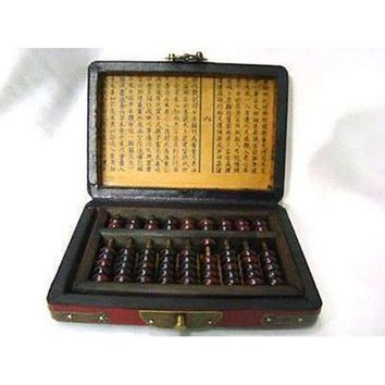 Vintage Chinese Abacus Beads Leather Box