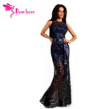 DL vestido de renda 2016 Navy Lace Satin Patchwork Party Maxi Dress LC6809 dress party evening elegant vestido longo festa noite