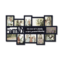 "Decorative Black Wood ""Family"" Wall Hanging Collage Picture Photo Frame"