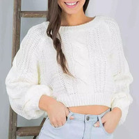 White Cable-Knit Crop Sweater