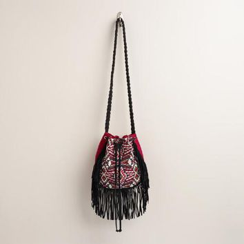 Red and Black Bucket Bag with Suede Fringe