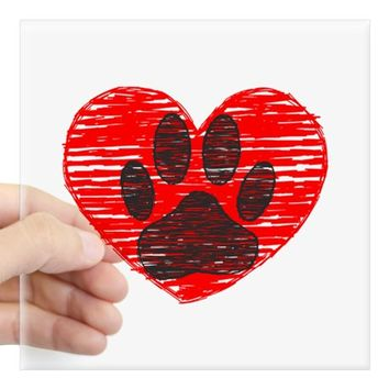 SKETCHED DOG PAWS IN RED HEARTS STICKER