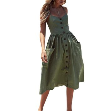 Women's Sexy Summer Backless Button Down Striped/Solid Print Swing Midi Dress With Pockets 2018