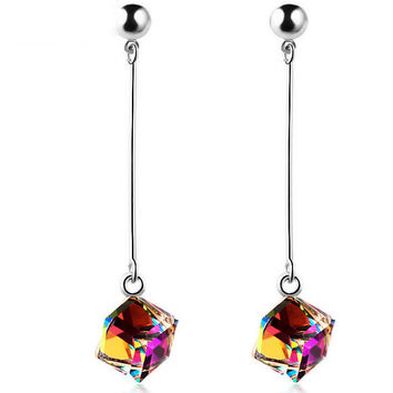 Charm earrings with stones multicolor simple long drop cube crystal red jewelry dangle earrings