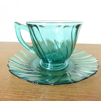 Perfect teal green glass teacup and saucer, for beverages or making a teacup bird feeder