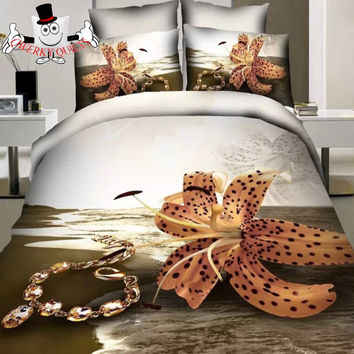 Brown Necklace Tulip Bedding Set and Quilt Cover