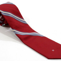Pierre Cardin Neck Tie - Red with White, Blue Stripes - Cravat, Necktie Ivy League Menswear - 57 Inches