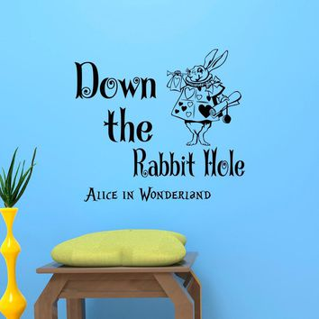 Alice In Wonderland Wall Sticker White Rabbit With Down The Rabbit Hole Quotes Vinyl Wall Mural Kids Nursery Bedroom Decor D-321