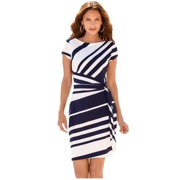 7-Attract Autumn work dresses women 2017 Pencil Black Red Navy White Stripe Knot Sheath Party Vestidos Robes Casual Party Dress