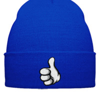thumps up embroidery - Beanie Cuffed Knit Cap