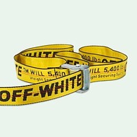 Off White Belt  Virgil Abloh Belts Embroidered Yellow Canvas Ribbon B104490-1 Yellow