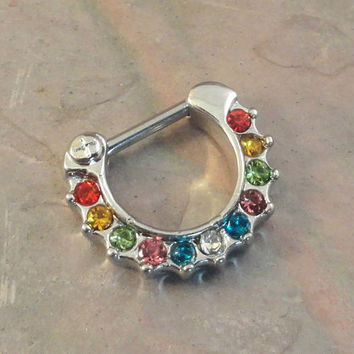 14 Gauge Rainbow Crystal Septum Ring Clicker Bull Ring Nose Piercing