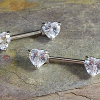 Crystal Heart Nipple Bar Jewelry Barbell