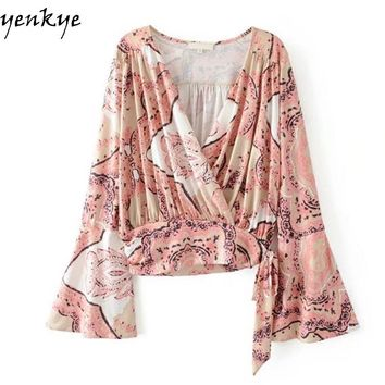 Vintage Printed Blouse Shirt Ladies Cross Deep V Neck Flare Sleeve Shirts Casual Fashion Women Tops blush