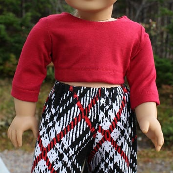 18 inch doll clothes, Harem, dance, yoga pants, and red crop top, american girl, maplelea