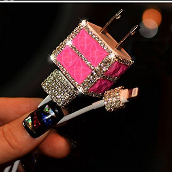 Bling Crystal Shining Wall Charger& Lightning USB Data Cable for iPnone5/5s,5c,6/6s,6/6s plus (Rose)