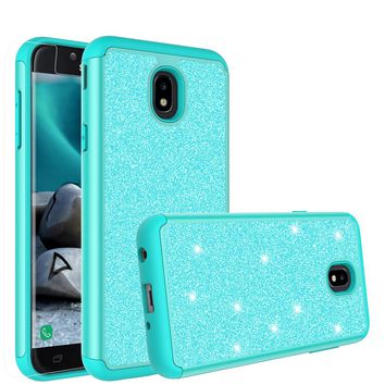 Samsung Galaxy J7 (2018) Case, Galaxy J7 (2018) Glitter Bling Heavy Duty Shock Proof Hybrid Case with [HD Screen Protector] Dual Layer Protective Phone Case Cover for Samsung Galaxy J7 (2018) - Teal