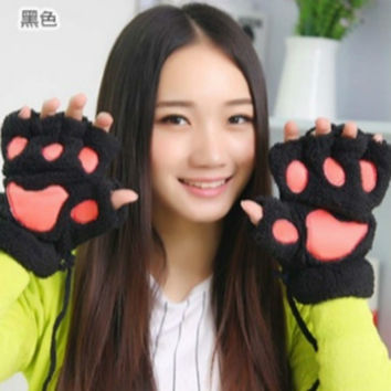 2015 Fashion  Fluffy Bear/Cat Plush Paw/Claw Glove Novelty Halloween Soft Toweling Half Covered Women's Gloves Mittens on Sale = 1958138052