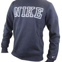 Mens Nike Top Long Sleeves Sweatshirt Tee Crew Neck T Shirt Navy Blue XXL