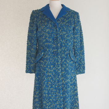 60s Boucle Knit Mad Men Style Coat