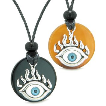 Cool Evil Eye Protection Flames Love Couples or BFF Set Black Agate Carnelian Magic Powers Necklaces