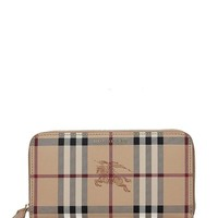 DCCKUG3 Burberry Women's Haymarket Check and Leather Ziparound Wallet Camel