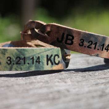 Custom Engraved Braided RealTree Camo Leather Bracelet SET of TWO--Initials and Anniversary Date Shown