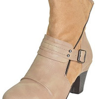 Bumper Womens Belle03 Bootie (Nude Brown)