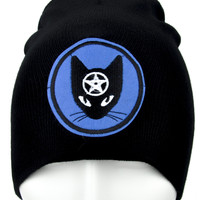 Wiccan Black Cat Pentagram Beanie Alternative Clothing Knit Cap
