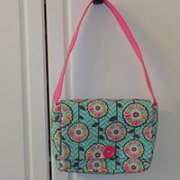 Young Girls' Purse Messenger Bag In Multi-Colored Floral On Aqua