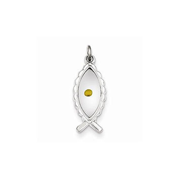 Sterling Silver Polished & Epoxy Ichthus With Mustard Seed Pendant