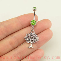 belly ring,wishing tree belly button rings,mulberry tree belly button jewelry,family tree navel ring,body piercing,friendship bellyring