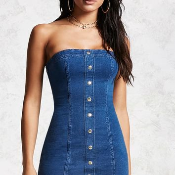 Denim Button Tube Dress
