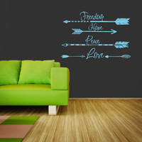 Wall Decal Vinyl Sticker Decals Art Decor Design Arrows Freedom Love Hope Quote Words Hippster Aztec Geometric Bedroom Dorm Office(r1215)