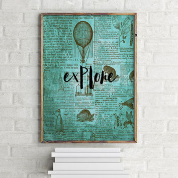 "Dictionary art print ""Explore"" Dictionary art Dictionary page Inspirational poster Wall artwork Motivational quote Instant download"