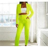 Summer  women's fashion slim long sleeves without buckle solid color small suit two-piece