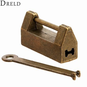 1Pc Vintage Antique Iron Chinese Old Lock Retro Brass Padlock Jewelry Wooden Box Padlock Lock for Suitcase Drawer Cabinet + Key