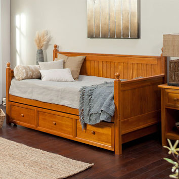 Twin Size Daybed in Honey Maple Wood Finish - with Trundle