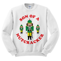 White Crewneck Son Of A Nutcracker Ugly Christmas Sweatshirt Sweater Jumper Pullover
