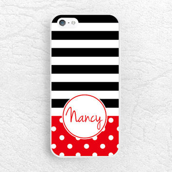 Monogram Phone Case for iPhone 6, iPhone 5 5s, Sony z1 z2 z3, LG G2 G3 nexus 5, Monogram Case - Polka dot striped with personalized name